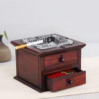 Exquisite red acid branch retro wooden glass ashtray Creative wooden cigarette storage box