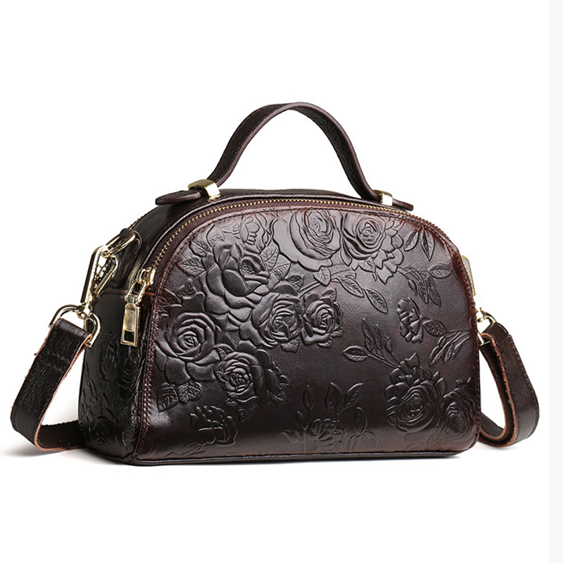 New Women Genuine Leather Messenger Shoulder Cross Body Bags Travel Tote Bag Famous Brand Vintage Embossed Pattern Handbag New Women Genuine Leather Messenger Shoulder Cross Body Bags Travel Tote Bag Famous Brand Vintage Embossed Pattern Handbag