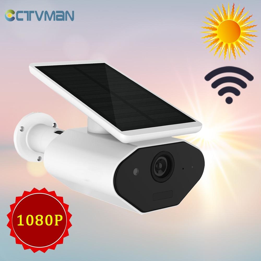 Caméra solaire CTVMAN IP sans fil 1080 P batterie WIFI extérieur 2MP PIR Rechargeable deux voies Audio extérieur sécurité à domicile caméra CCTV