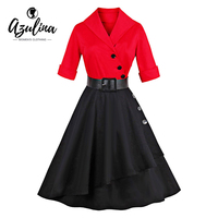 AZULINA Vintage Women 50s 60s Midi Dress Patchwork Button Female Casual Party Retro Dress Vestido De