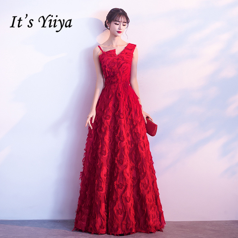 It's Yiiya Honorable Wine Red One-Shoulder Sleevesless Feathers   Evening     Dresses   Backless Floor-Length Formal   Dress   MX056