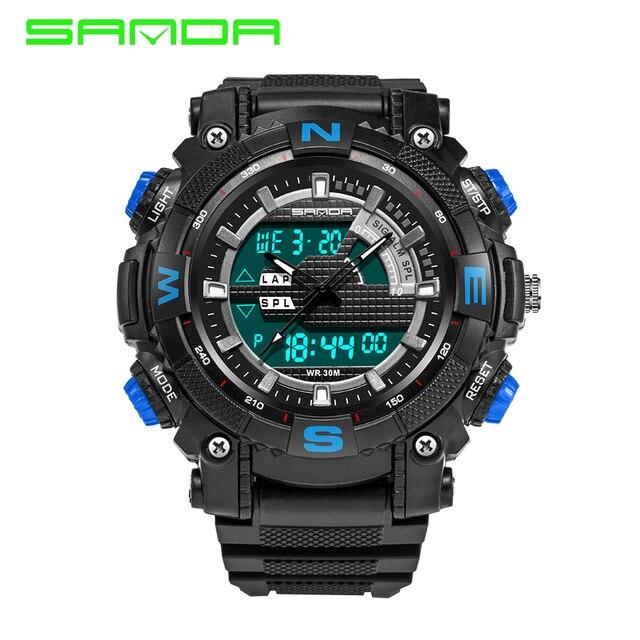 S CHOQUE 2016 Nueva SANDA Marca de Lujo de Los Hombres Militar Deportes Relojes correa de caucho LED Digital Relojes de pulsera de Cuarzo relogio masculino