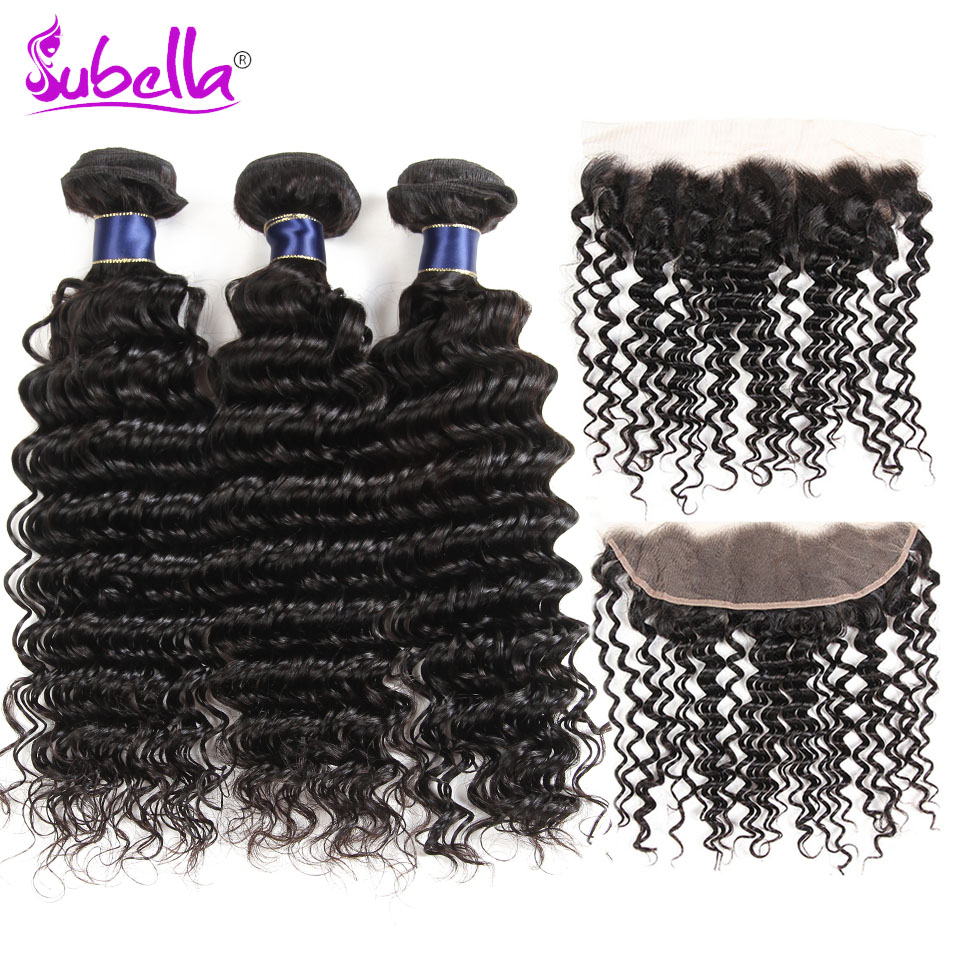 Subella Indian Deep wave 3 bundles with 13x4 lace frontal closure,100% human hair weave with closure Non-remy hair extension