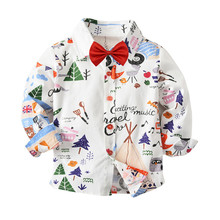 Toddler Boys Shirts Blusa Long Sleeve Boys White Shirts Collared Blouse And Bows Baby Boy Formal Shirt Children Top Blous недорого