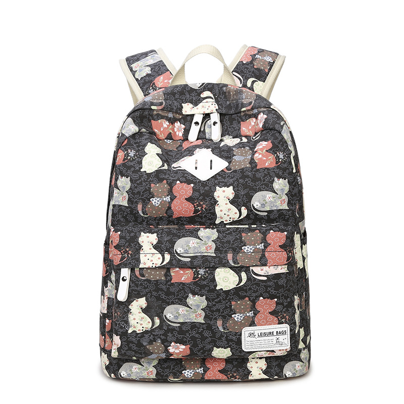 Large Capacity Women Cute Cartoon Cat Animal Print Canvas College Backpack School Bags for Teenagers Girls