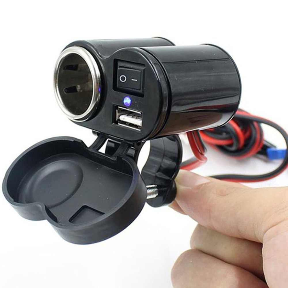 Motorcycle Usb Charger 2-in-1 Waterproof Electric Vehicle Cigarette Lighter Socket Usb Universal Mobile Phone