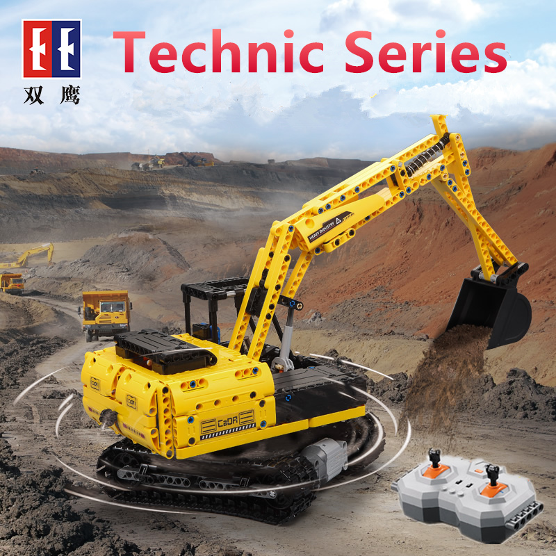 Crawler Truck EXCAVATOR Building Blocks Electric Motors Power Functions Model Bricks Compatible legoinglys 8043 LepinG 20007 196pcs building blocks urban engineering team excavator modeling design