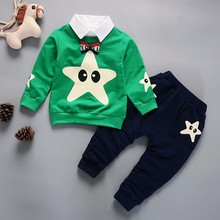 Spring Autumn Baby Boy Girl Cotton Clothes Set Cartoon Star Pattern Sweatshirt Tops Pants Trousers Set picturesque childhood printed car cartoon baby boy clothing double set suspenders trousers pants style strap baby s set