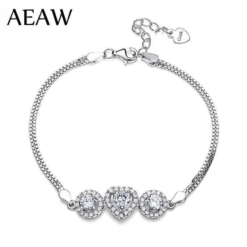 AEAW Solid 14K Gold Moissanite Lab Diamond Bracelet DF color 6MM Heart Cut and Round Moissanite 585 Gold for Women trendy style solid 14k yellow gold df color moissanite lab grown diamond bracelet charm for women