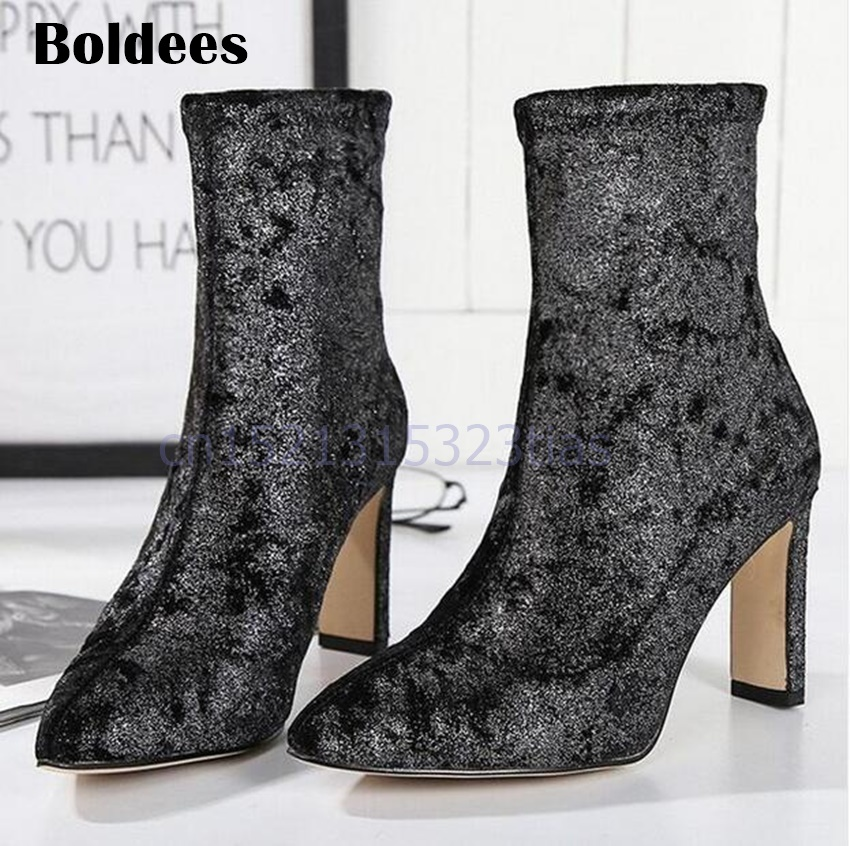 Fashion Velvet Fabric Ankle Boots Woman Pointed Toe Chunky Heeled Short Boots Stretch Sock Boots 2018