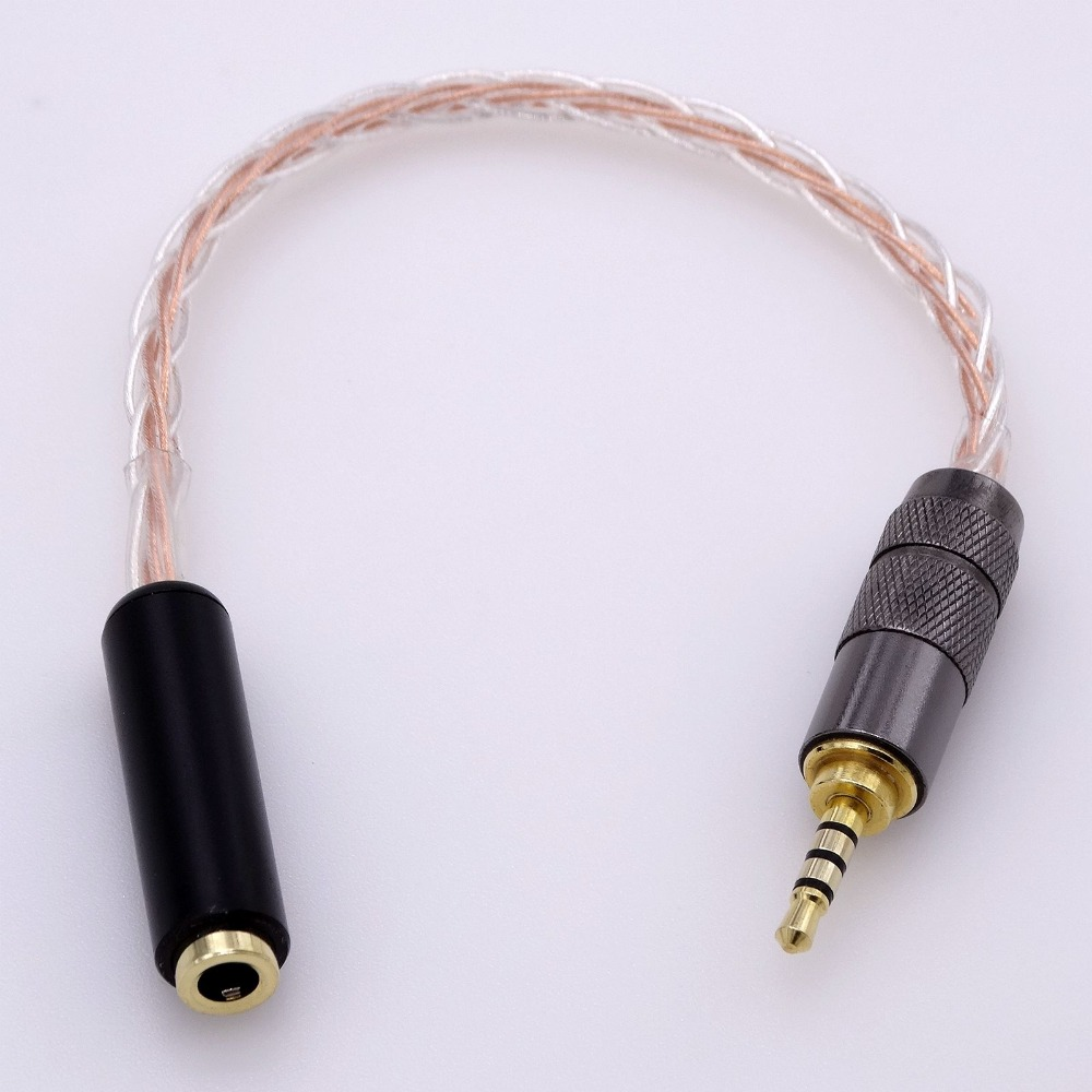2.5mm TRRS Balanced to 3.5mm Female Balanced Trrs Headphone Audio Adapter Cable For Astell&kern AK240 AK380 AK320 DP-X1 FIIO 3 5mm 4 conductor trrs male to female audio adapter cable yellow 100cm