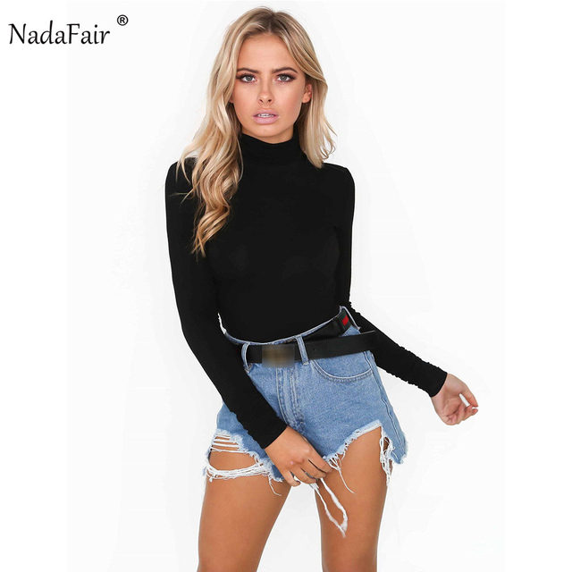 Nadafair Turtleneck Long Sleeve Casual Women Bodysuits Autumn Winter Basic  Shirt Tops White Black 8839d9917