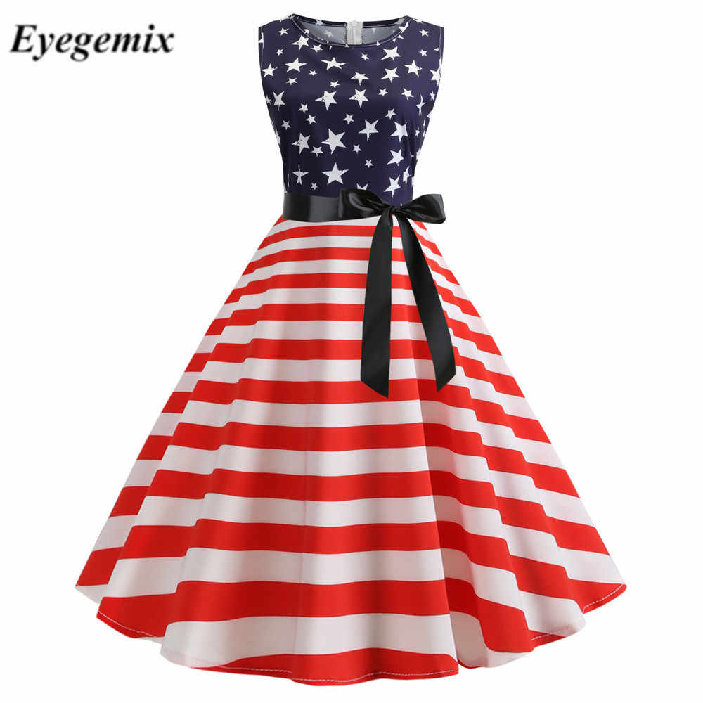 Women Summer Print A Line Party Dress Sleeveless Robe Vintage Pin Up Swing 1950s 60s Retro Rockabilly Independence Day Dresses Dresses Aliexpress
