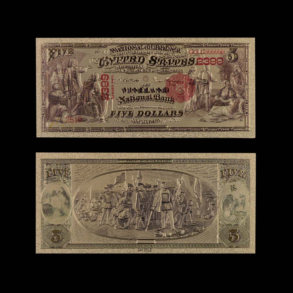 1975 Year 24k Gold Banknote Collectible 999.9 Gold Foil World Paper Money Hot Collection 5 Dollar America