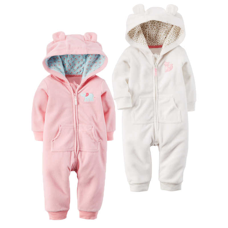 560b36431f2 Autumn   Winter Newborn Infant Baby Clothes Fleece Jumpsuit Boys Romper  Hooded Jumpsuit Bear Onesie Baby