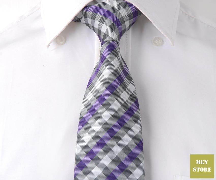 """Серый, фиолетовый, белый из Шотландской клетчатой ткани Для мужчин жаккардовый тканый шелк ручной работы """" галстук 8 см галстуки Свадебная вечеринка галстук для жениха DT096"""