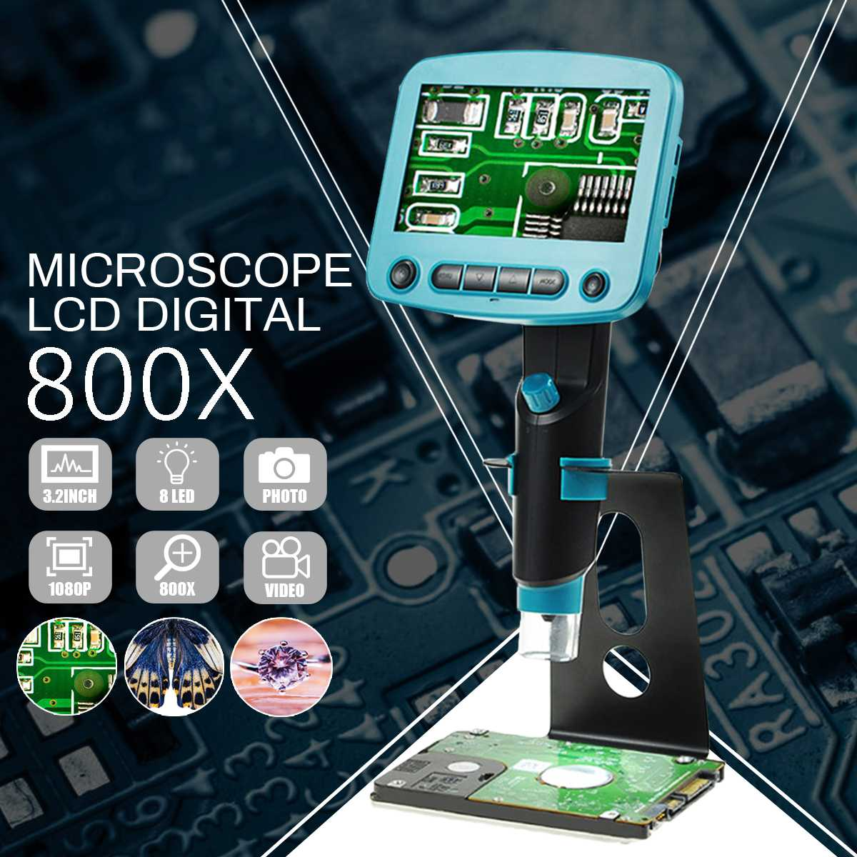 8LCD Display Digital Solder 800x 4.3 Inch Microscope Portable USB High Brightness 8 LEDs Electron Soldering Microscope8LCD Display Digital Solder 800x 4.3 Inch Microscope Portable USB High Brightness 8 LEDs Electron Soldering Microscope