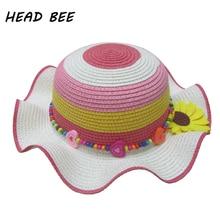 HEAD BEE font b 2018 b font Fashion Sun Hat Kid Flower Wide Brim Beach