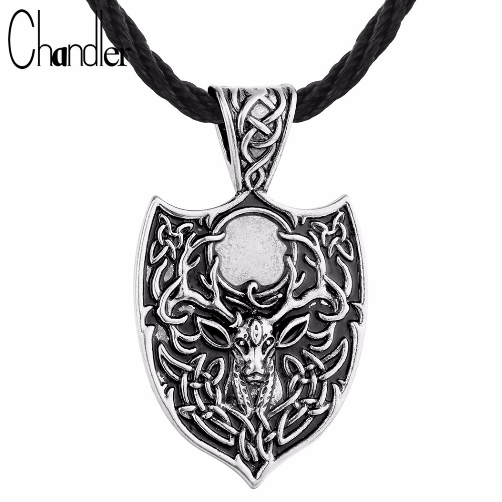 Chandler Large Double Deer Sekira Talisman Pendant Necklace Legendary Nordic Amulet Viking Jewelry Celtic Retro Alther Accessary