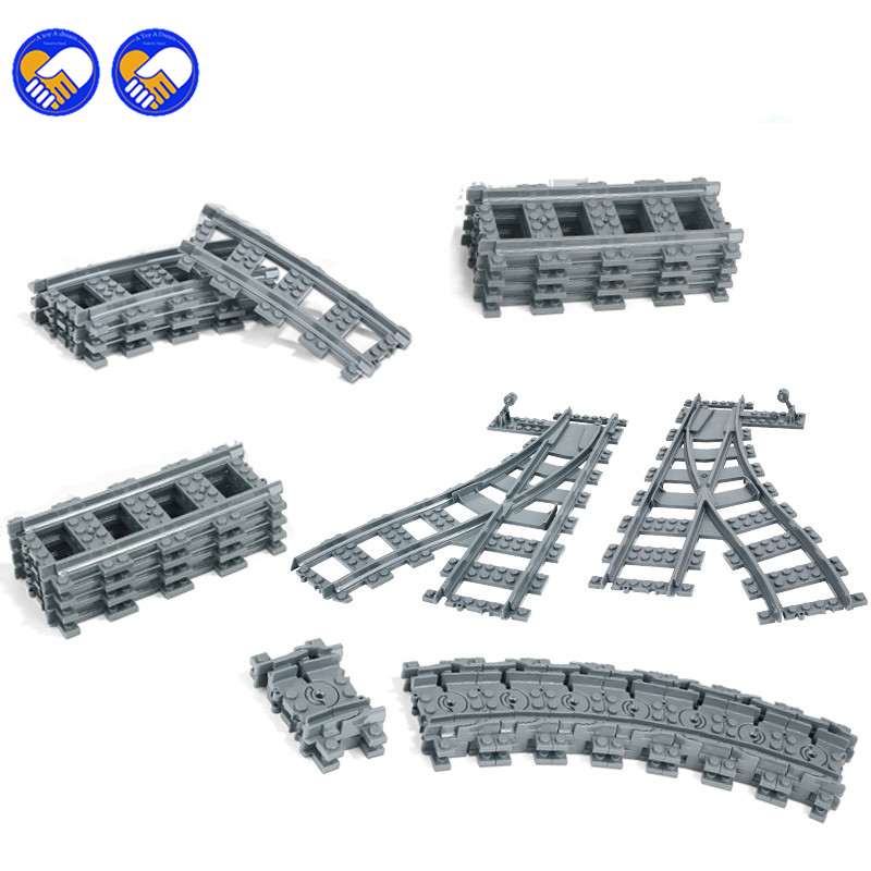 A toy A dream City Trains Train Flexible Track Rail Crossing Straight Curved Rails Building Blocks Bricks Kids Toys Compatible l household white aluminum curved track curtain rail track rail track mute windows