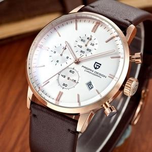 Image 4 - Top Brand Luxury PAGANI Design Chronograph Leather Mens Watches Quartz Fashion Sport Military Wristwatch Men relogio masculino