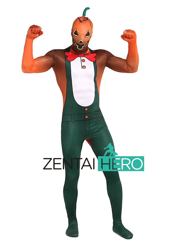 ZentaiHero 3D Printing Halloween Zentai Suit Pumpkin Demon Unisex Lycra Spandex Bodysuit Cosplay Halloween Costume Fancy Dress