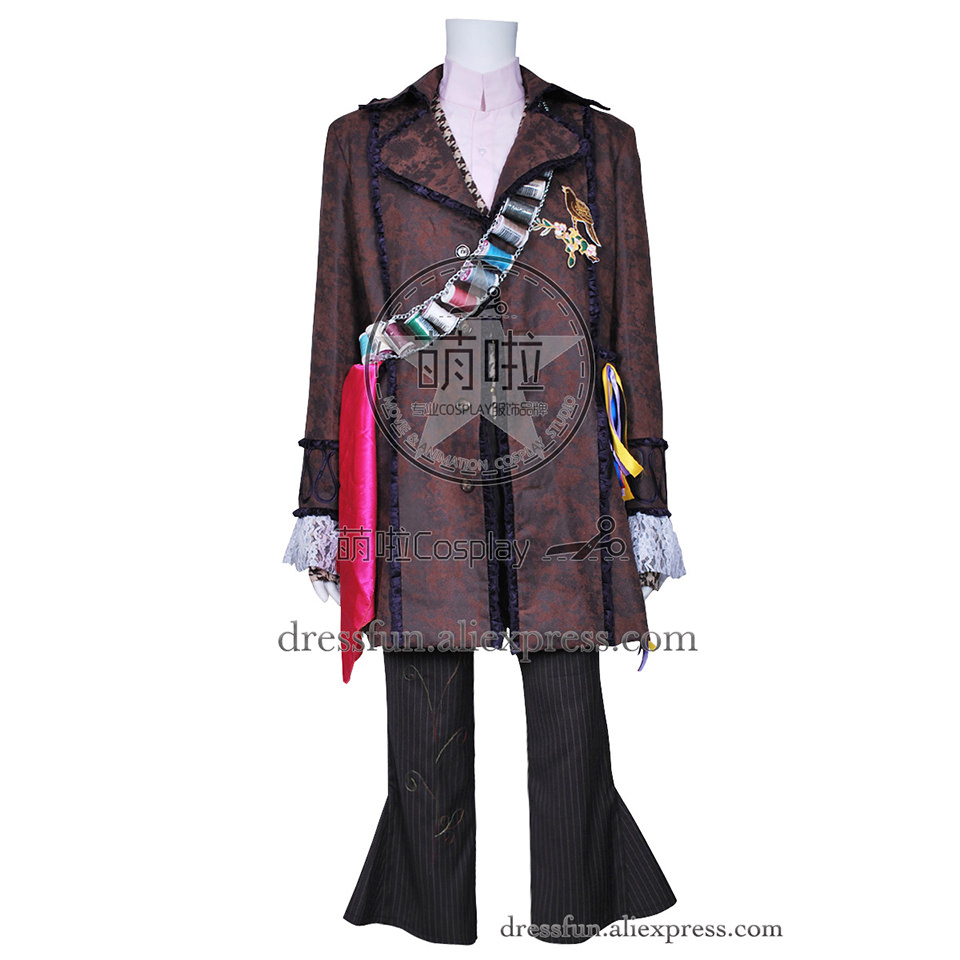 Alice In Wonderland Cosplay Mad Hatter Johnny Depp Costume Three-Quarter Coat Outfits Full Set Halloween Fashion Fast