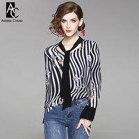 Spring Summer Woman Blouse Shirt Floral Pattern Print Black White Strip Pattern Silk Shirt Collar Ribbon