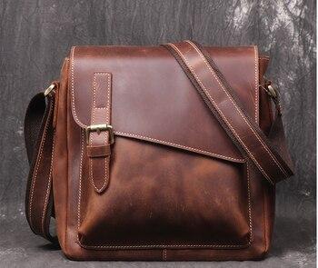 New Men Genuine Leather Briefcase Commuter Shoulder Cowhide Bag Vintage Style Mens Waterproof Business Bags Bolso Hombre D843