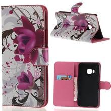 Luxo roxo colorido da flor impressão Wallet Leather Flip fique Pouch Case capa para HTC One M9 telefone 2015