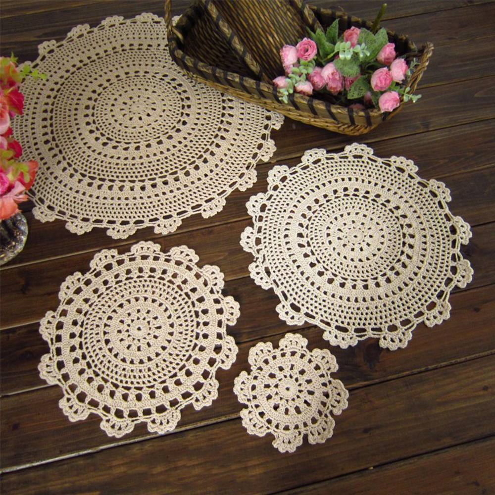 Pattern For Placemats For Round Table.Us 6 01 14 Off Yazi Set Of 4 Handmade Crochet Lace Placemat Cotton Round Table Doily Floral Pattern Coaster Mat In Mats Pads From Home Garden On