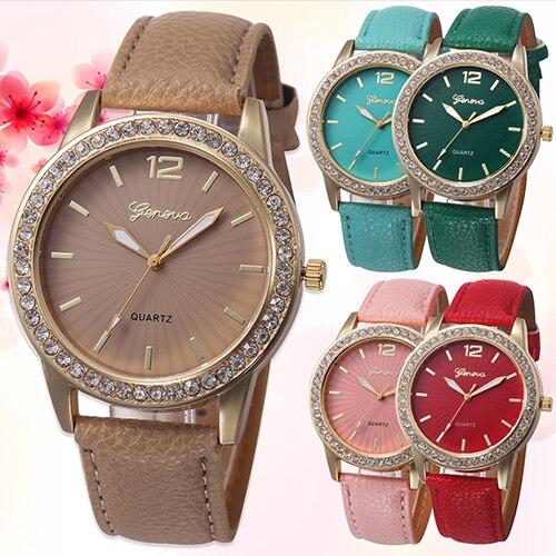Fashion Women Rhinestone Faux Leather Analog Quartz Dress Wrist Watch JewelryFashion Women Rhinestone Faux Leather Analog Quartz Dress Wrist Watch Jewelry