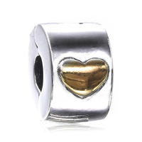 925 Sterling Silver Lock Clip Stopper Charms Gold Heart Beads For Original Pandora 925 Sterling Silver Bracelets Bangles XCY409