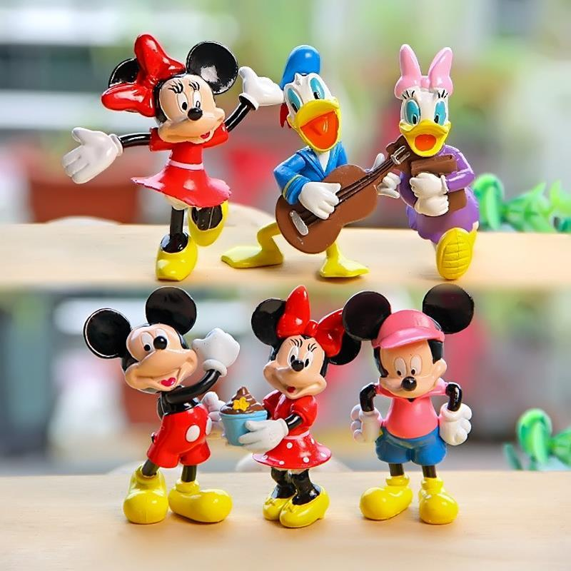 6pcs Life Style Mickey & Minnie Mouse Donald Duck Daisy Figures PVC Action Figure Toys Doll Collection Model Toy for Home Decor