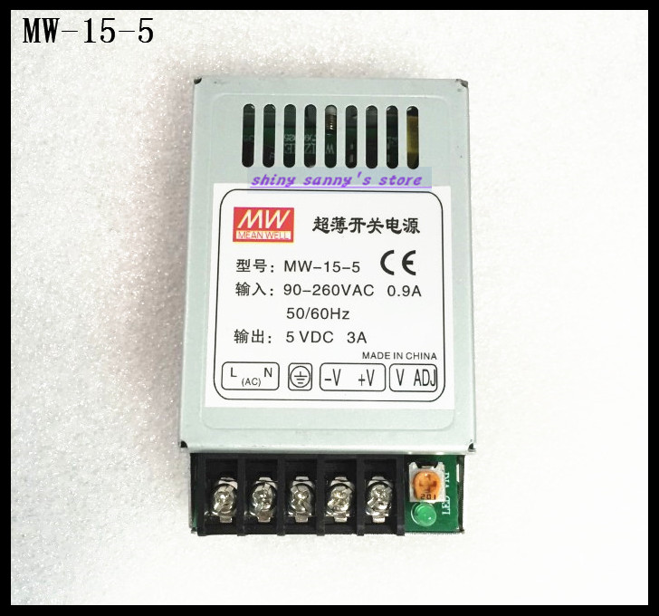 1Pcs MW-15-5 15W 5V 3A 90-260VAC Input ,5VDC Output Mini Size Regulated Switching Power Supply Ac to Dc Brand New rps369 10 pieces per lot 36 vdc 9 7a regulated switching power supply with 85 132 176 265 vac input