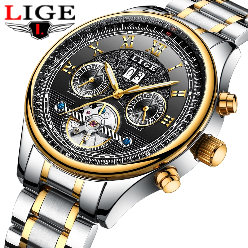 Mens Watches LIGE Top Brand Luxury Automatic Mechanical Watch Men Full Steel Business Waterproof Sport Watches Relogio Masculino купить