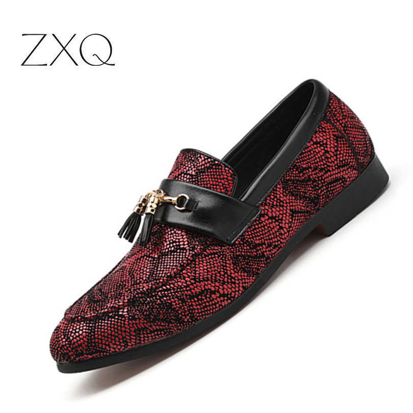 Men's Casual Shoes Strong-Willed Plus Size 38-48 New Imitate Snake Leather Men Slip On Shoes Personality Men Tassel Office Footwear Leather Italian Formal Shoes
