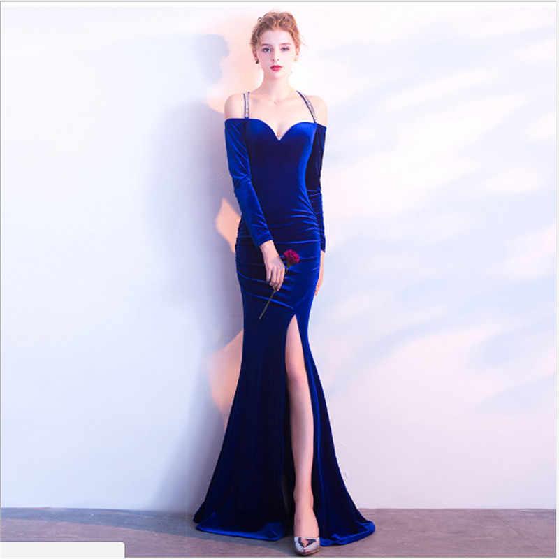 Новинка, велюр платье-русалка, вечернее платье с длинным рукавом, сексуальное, с высоким разрезом, тонкое, элегантное, для помолвки, вечернее платье, vestido de festa