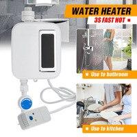 バスシャワー電気タンクレスミニインスタント温水ヒーター洗浄の台所の蛇口タップ加熱ステンレス鋼温度電話交換
