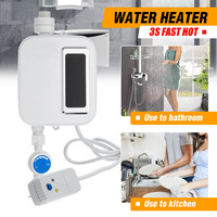 Bath Shower Electric Tankless Mini Instant Hot Water Heater Wash Kitchen Faucet Tap Heating Stainless Steel Temperature Automati