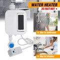 Ducha de baño eléctrica sin tanque Mini calentador de agua instantáneo lavar grifo de cocina calentador de temperatura de acero inoxidable Automati