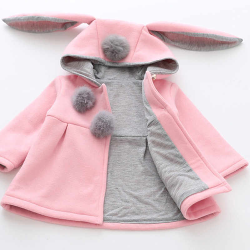 0ae79b1625b TZCZX-8115 New Autumn&Winter Children Baby Girl Rabbit Ears Long Sleeve  Jackets Clothes For 12 months to 3 Years Old Kids Wear