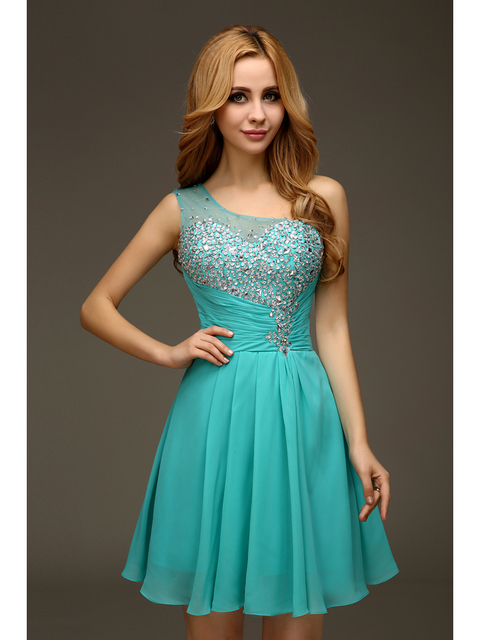 8855d9516 2017 Cheap Juniors Jade Crystals Chiffon Short Above Knee One Shoulder Prom  Graduation Dresses With Straps