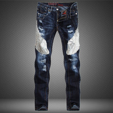 2701 2017 Distressed jeans Patchwork Straight Slim Mens skinny jeans Denim biker Ripped jeans men