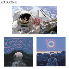 ZOTOONE Iron on Transfer Astronaut Patch Applique Heat Vinyl Space Patches Stickers Stripes Clothes Thermal Press
