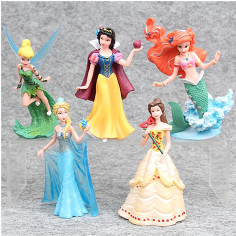 Disney Princesses Toys 5pcs/Set 10-12cm Snow White Frozen Elsa Ariel Bella Tinker Bell Pvc Action Figure Doll Kids Toys Gift стоимость
