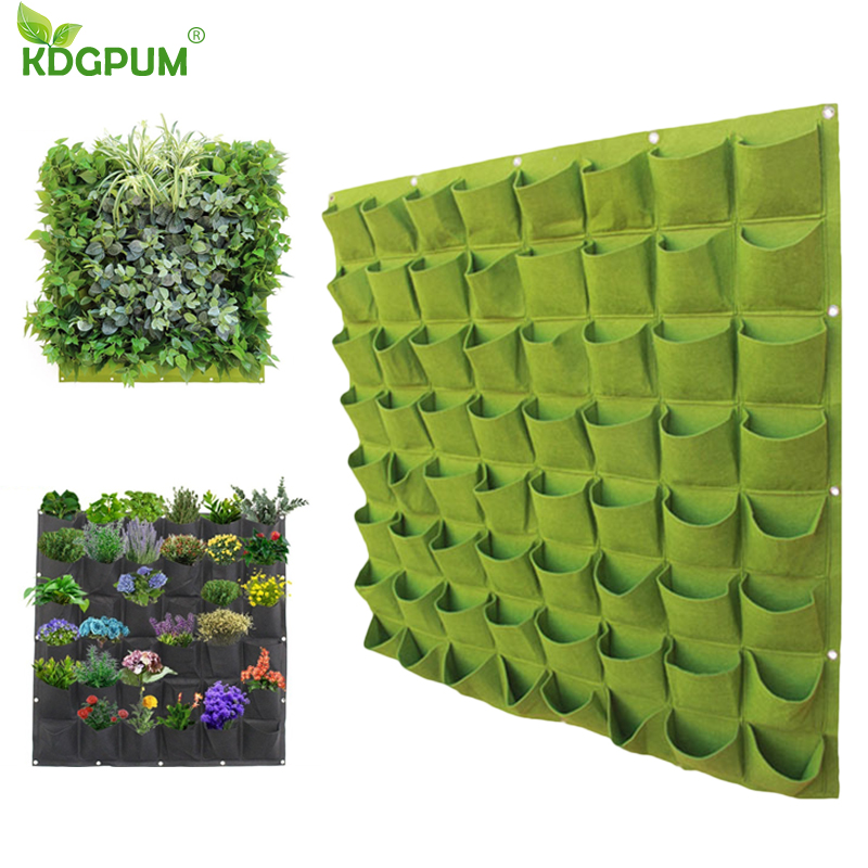 Dropshipping Wall Hanging Planting Bags 9/12/18/36/49/64/72 Pockets Green Grow Planter Vertical Garden Flowers Supply