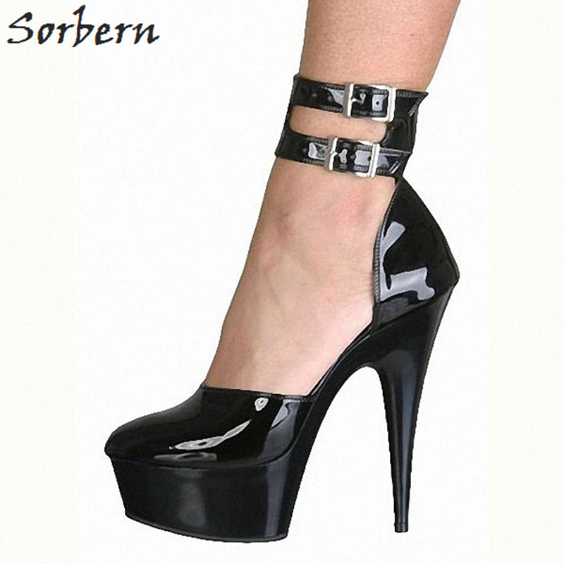 Sorbern Sexy Ankle Strap Closed Toe Women Pumps 15Cm/5Cm High Heels Stilettos Platform Shoes Ladies Mary Jane Shoe Platform Heel цена
