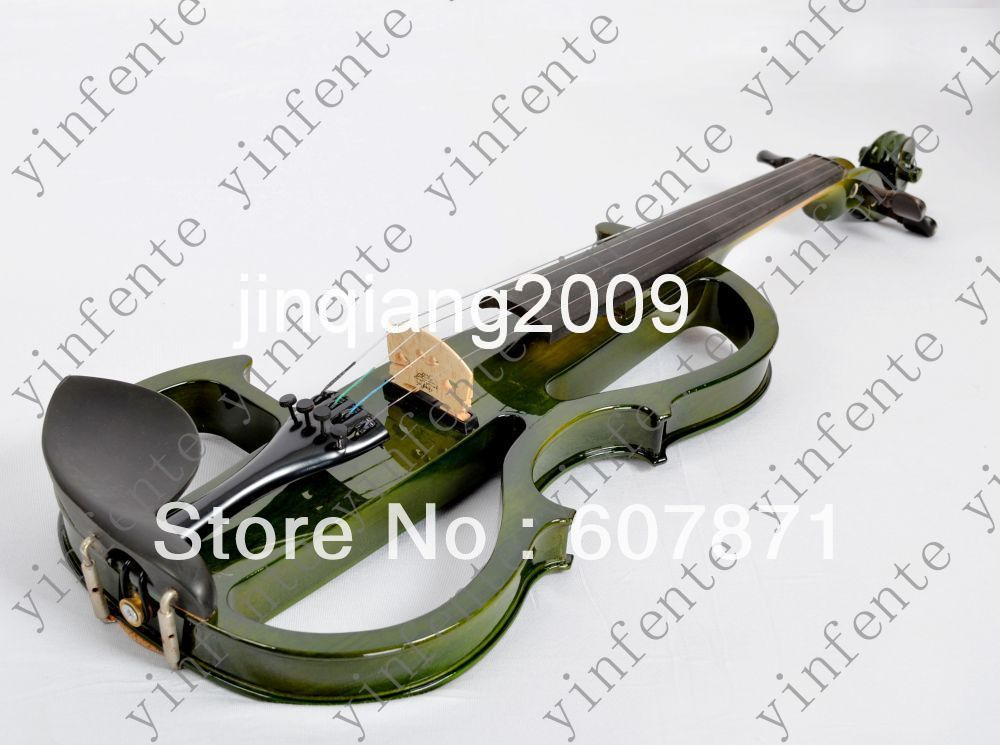 green Handmade 4/4 High quality 4 Strings Electric violin