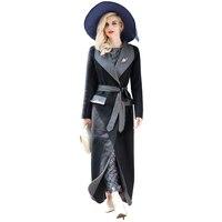 S-XXXL Kaşmir Taraflı Aşınma Maxi Uzun Coat Kadın Güz Kış Moda Tasarımcısı Büyük Boy Palto Yaka Yaka Gri Siyah 5730
